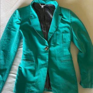 Teal/Aqua green blazer. Size small.